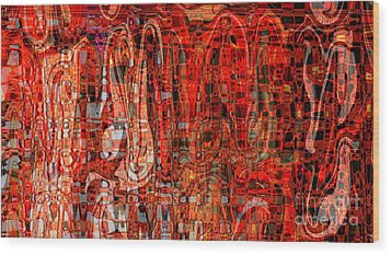 Red Abstract Panel Wood Print by Carol Groenen