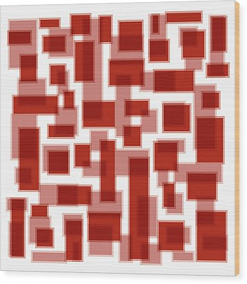 Red Abstract Patches Wood Print by Frank Tschakert
