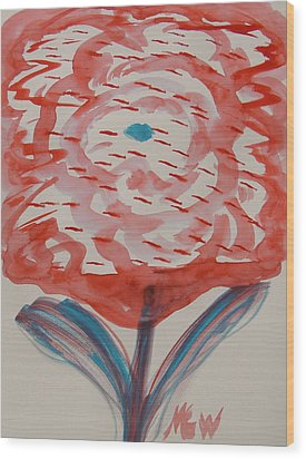 Red And Baby Blue Wood Print by Mary Carol Williams