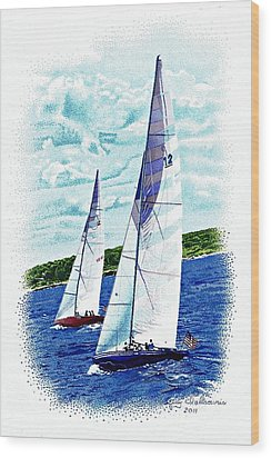 Red And Blue Sailboats Wood Print by Judy Skaltsounis