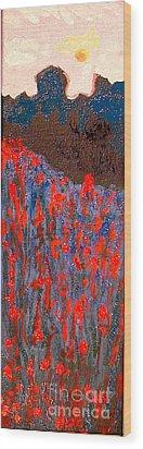 Red And Blue Washington State Wood Print by Joseph Hawkins