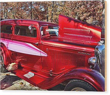 Red And Chrome Wood Print