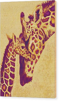 Red And Gold Giraffes Wood Print