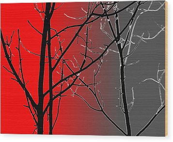 Red And Gray Wood Print by Cynthia Guinn