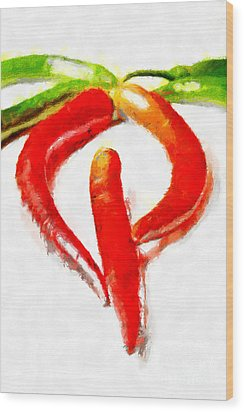 Red And Green Chili Peppers Painting Wood Print by Magomed Magomedagaev