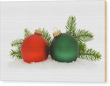 Red And Green Christmas Baubles Wood Print by Elena Elisseeva