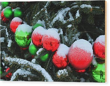 Red And Green Christmas Ornaments Wood Print