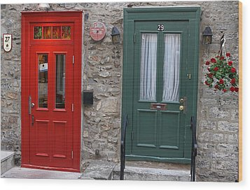 Red And Green Doors Of Quebec Wood Print by Juergen Roth