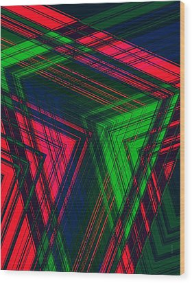 Red And Green In Geometric Design Wood Print by Mario Perez