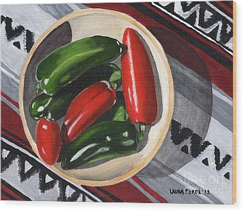 Wood Print featuring the painting Red And Green Peppers by Laura Forde