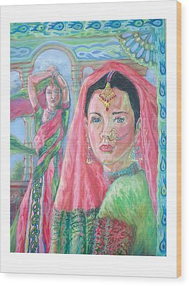 Wood Print featuring the painting Red And Green by Suzanne Silvir