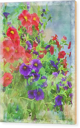 Red And Purple Calibrachoa - Digital Paint I Wood Print by Debbie Portwood