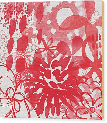 Red And White Bouquet- Abstract Floral Painting Wood Print by Linda Woods