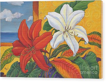Red And White Lillies Wood Print by Paul Brent
