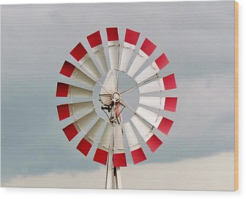 Wood Print featuring the photograph Red And White Windmill by Cynthia Guinn