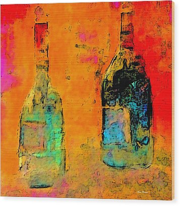 Wood Print featuring the painting Red And White Wine by Lisa Kaiser
