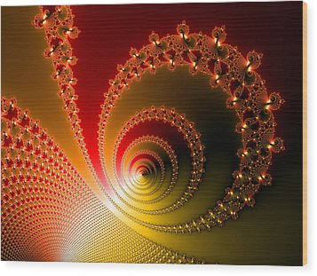 Red And Yellow Abstract Fractal Wood Print by Matthias Hauser