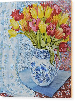 Red And Yellow Tulips In A Copeland Jug Wood Print by Joan Thewsey