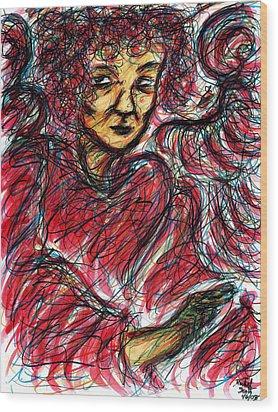 Red Angel Wood Print by Rachel Scott