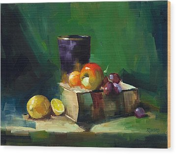 Red Apple Book And Purple Wood Print by Pepe Romero