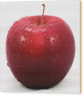 Red Apple Wood Print by John Rizzuto