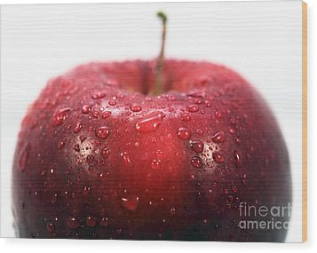 Red Apple Top Wood Print by John Rizzuto