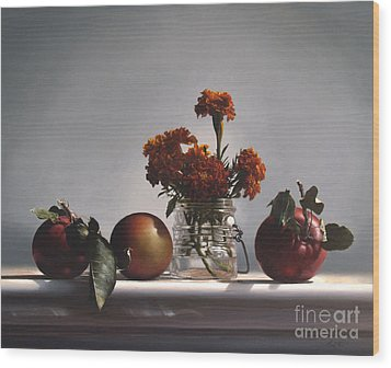 Red Apples And Marigolds Wood Print by Larry Preston