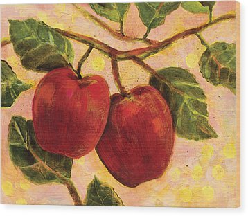 Red Apples On A Branch Wood Print by Jen Norton