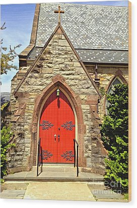 Wood Print featuring the photograph Red Arch Church Door 1 by Becky Lupe