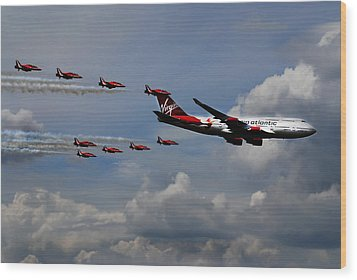 Red Arrows And Lady Penelope Wood Print by Mark Rogan