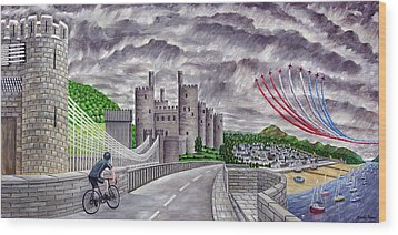 Red Arrows At 1000 Feet Over Conway Castle Wood Print by Ronald Haber