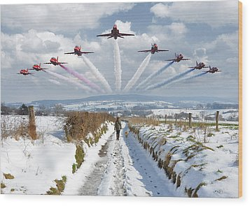 Red Arrows Over Epen Wood Print by Nop Briex