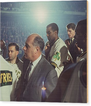 Red Auerbach Boston Celtics Legend Wood Print by Retro Images Archive