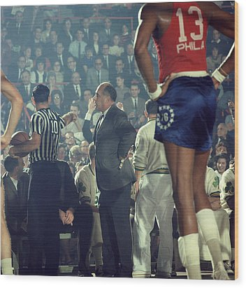 Red Auerbach Talks With Ref Wood Print by Retro Images Archive