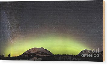 Red Aurora Borealis And Milky Way Wood Print by Joseph Bradley