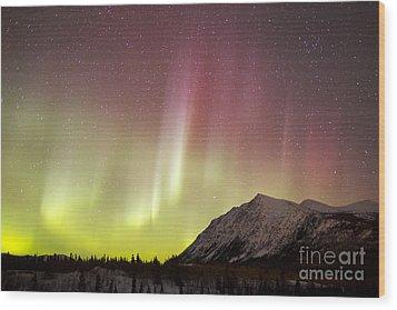 Red Aurora Borealis Over Carcross Wood Print by Joseph Bradley