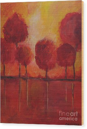 Red Autumn Wood Print by Alison Caltrider