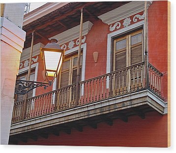 Red Balcony Wood Print