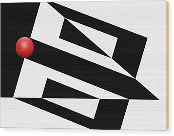 Red Ball 15 Wood Print by Mike McGlothlen