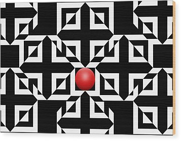 Red Ball 5 Wood Print by Mike McGlothlen