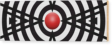 Red Ball 6 Panoramic Wood Print by Mike McGlothlen