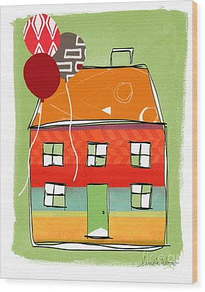 Red Balloon Wood Print by Linda Woods