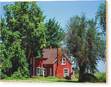 Wood Print featuring the photograph Red Barn And Trees by Matt Harang