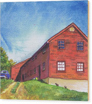 Wood Print featuring the painting Red Barn Apple Farm New Hampshire by Susan Herbst
