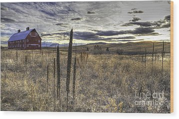 Wood Print featuring the photograph Red Barn At Sunset by Kristal Kraft