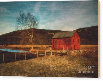 Red Barn At Twilight Wood Print by Lois Bryan