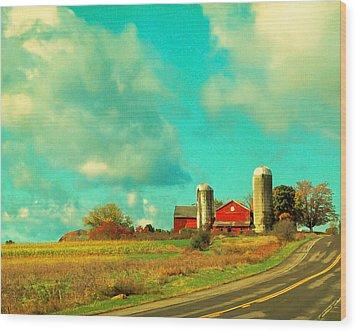 Red Barn Blue Sky Wood Print by Brooke T Ryan