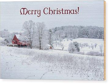 Red Barn Christmas Card Wood Print