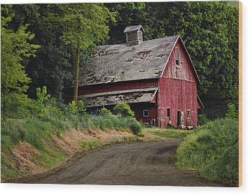 Red Barn - County Road  Wood Print