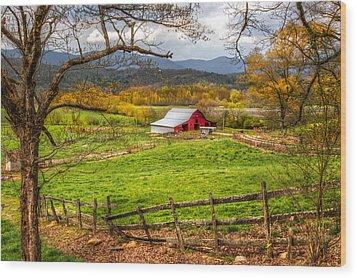 Red Barn Wood Print by Debra and Dave Vanderlaan